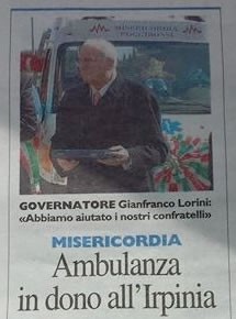 Ambulanza in dono all'Irpinia